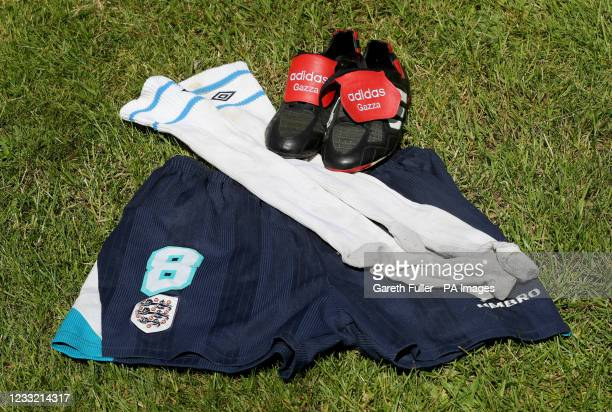 View of pieces of Paul Gascoigne's football kit from Euro '96 at Catherine Southon Auctioneers in Chislehurst, Kent, which he wore during the Euro...