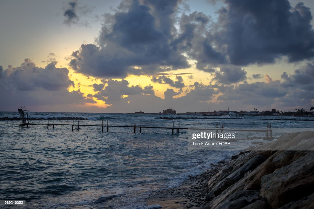 View of pier over sea during sunset : Stock Photo