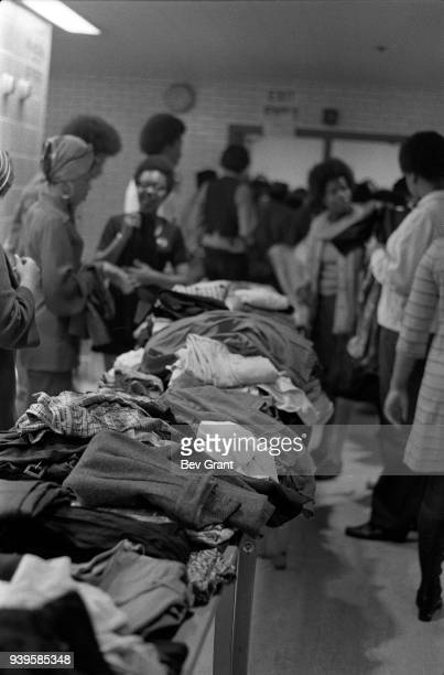 View of piles of clothes at a clothing drive sponsored by the Black Panther Party New York New York July 28 1969