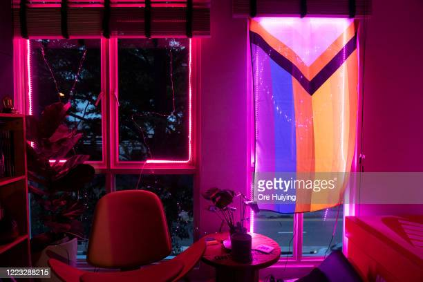 A view of pink light display in a house in a show of support to the LGBTQ community on June 27 2020 in Singapore Due to the ongoing coronavirus...