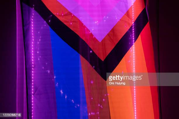 A view of pink light displays in a house in a show of support to the LGBTQ community on June 27 2020 in Singapore Due to the ongoing coronavirus...