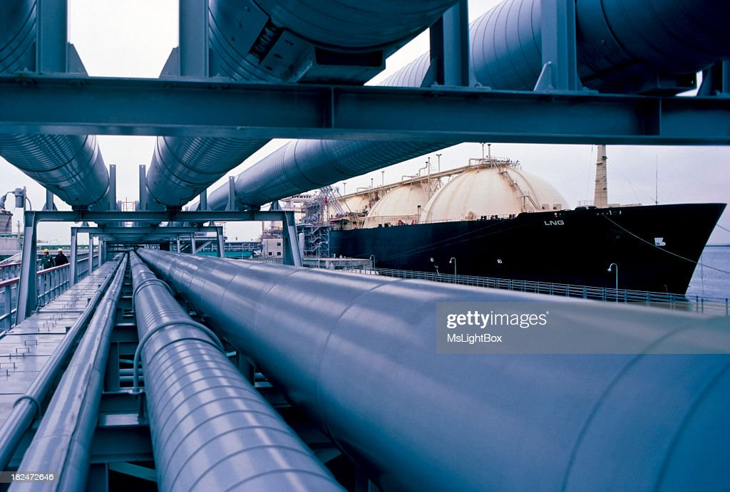 View of pipes in the oil industry : Stock Photo