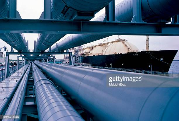 View of pipes in the oil industry