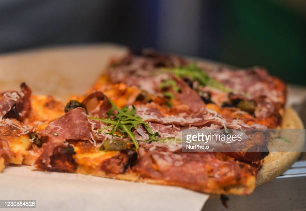 View of pizza in a trake away restaurant in Dublin center during Level 5 Covid-19 lockdown. On Saturday, 30 January in Dublin, Ireland.