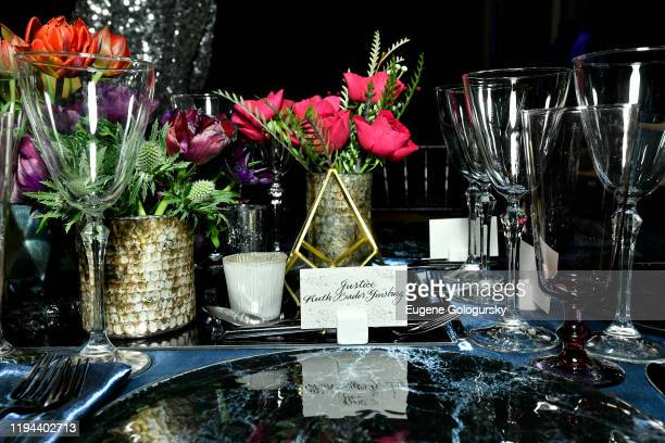 A view of place settings at the Fourth Annual Berggruen Prize Gala celebrating 2019 Laureate Supreme Court Justice Ruth Bader Ginsburg In New York...