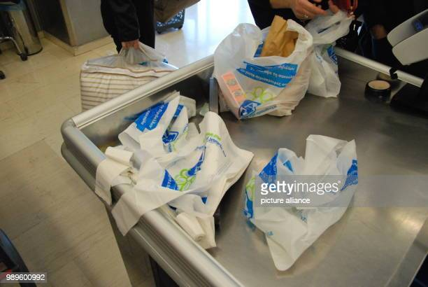A view of plastic bags in a supermarket in Athens Greece 31 December 2017 Starting from 01 January 2018 plastic bags have be purchases at a price of...