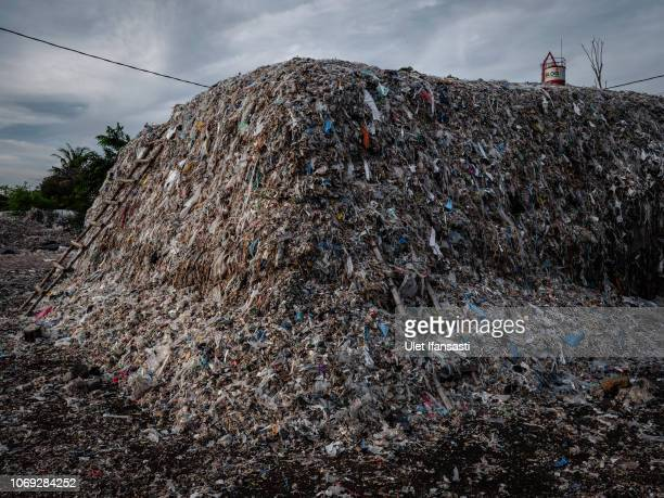 View of plastic pile at a import plastic waste dump in Mojokerto on December 4, 2018 in Mojokerto, East Java, Indonesia. Indonesia's second-largest...