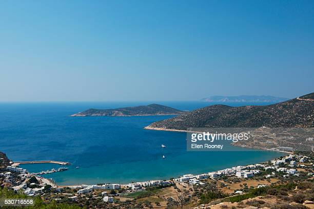 View of Platis Ghialos on the island of Sifnos; Sifnos, Cyclades, Greek Islands, Greece