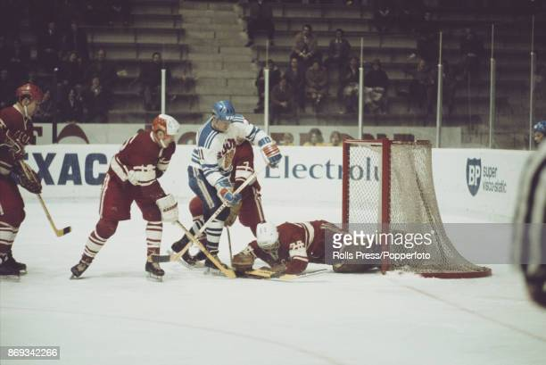 View of play between Finland and the Soviet Union during the 1971 World Ice Hockey Championships in Switzerland in March 1971 The Soviet Union team...