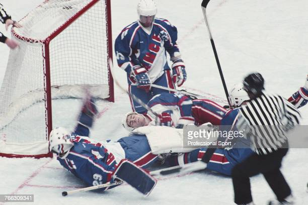 View of play between United States and France in their Group B game during the Ice hockey tournament at the 1994 Winter Olympics in Lillehammer...