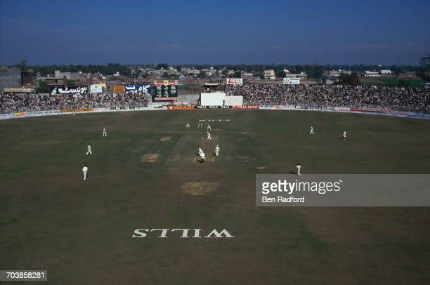 A view of play in the 4th Test between Pakistan and India at Jinnah Stadium Sialkot Pakistan 9th14th December 1989 The match ended in a draw