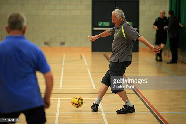 A view of players during a walking football match at the Sport England 'Fit for Fun' project at the University of East Anglia on May 28 2015 in...