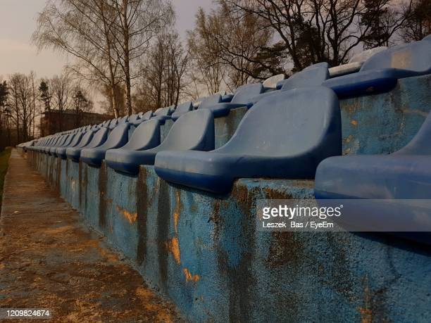 view of playground against sky during winter - kraków ストックフォトと画像