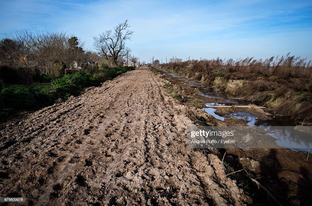 View Of Plowed Field Against Sky : Stock Photo