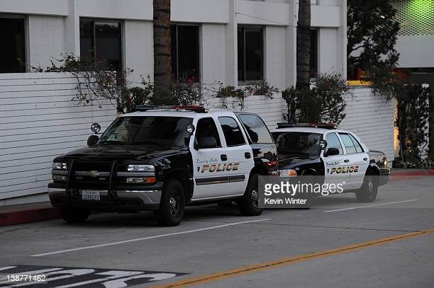 View of police cars seen outside of the Beverly Hilton Hotel before the Clive Davis and The Recording Academy's 2012 Pre-GRAMMY Gala And Salute To...