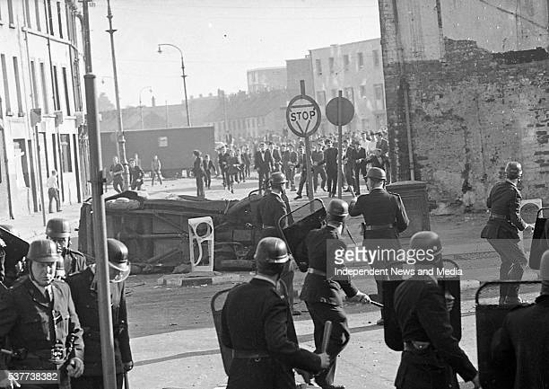 View of police officers from the Royal Ulster Constabulary as the face off with Bogside residents during the Battle of the Bogside Derry Northern...