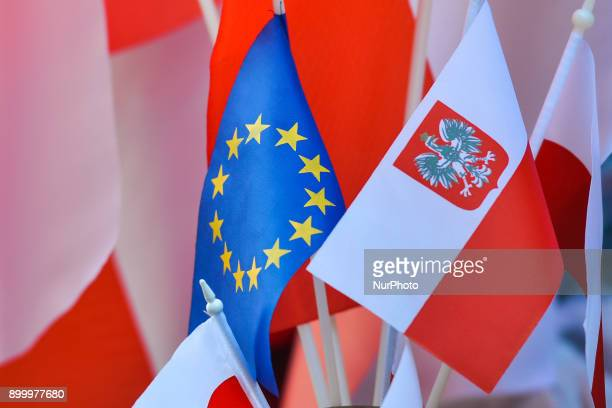A view of Polish and EU flags on display for sale in front of Wawel Castle On Saturday 30 December 2017 in Krakow Poland