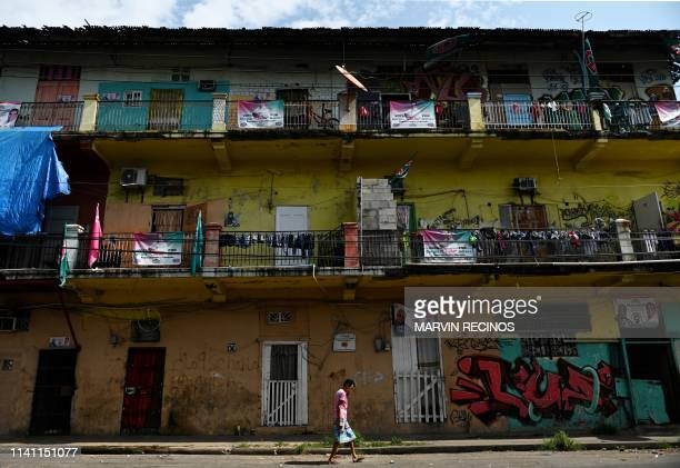 View of political propaganda in the Chorrillo neighborhood outskirts of Panama City on May 04 on the eve of general elections Voters go to the polls...