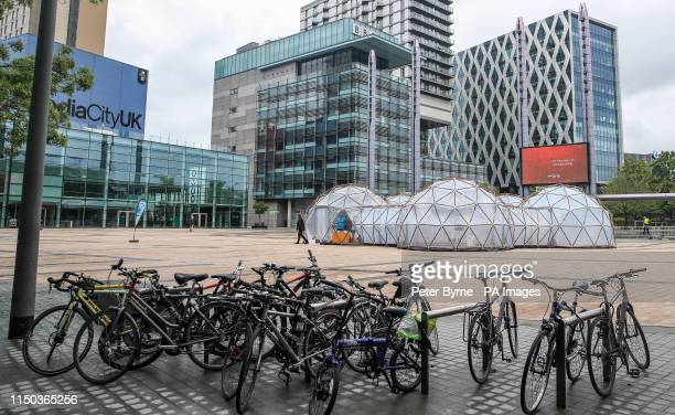 A view of Pollution Pods installed by Cleanairgmcom at MediaCityUK in Manchester People can experience the air quality of cities across the world...