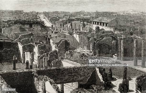 View of Pompeii archaeological site Italy illustration from the magazine The Illustrated London News volume XLV December 31 1864