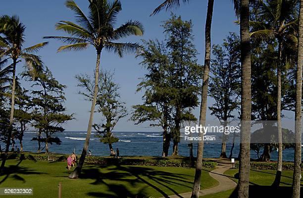 View of Pono kai resort at Kapa'a beach park at Kauai Island on Hawaii 29 Dec 2012