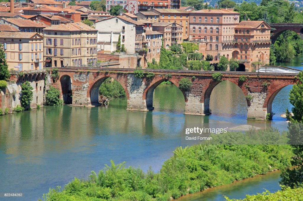 View of Pont Vieux and the River Tarn from the gardens of the Palais de Berbie in Albi, France. : Stock Photo