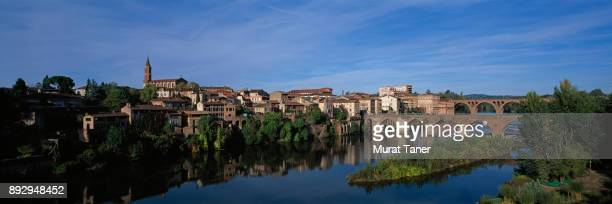 View of Pont Vieux Bridge and the town of Albi
