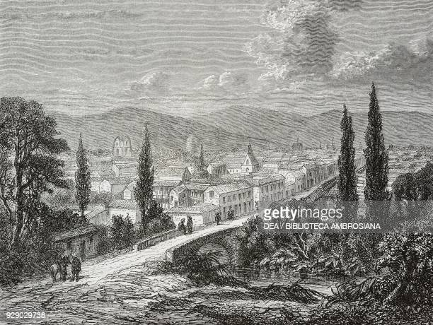 View of Popayan Colombia drawing by Delaunay from a sketch of the author Voyage a la Nouvelle Grenade by Charles Saffray from Il Giro del mondo...
