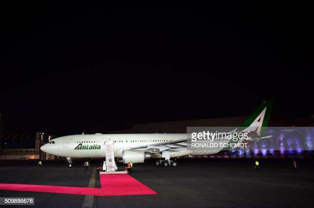 View of Pope Francis' plane upon its arrival at Benito Juarez international airport in Mexico City on February 12 2016 Catholic faithful flocked to...