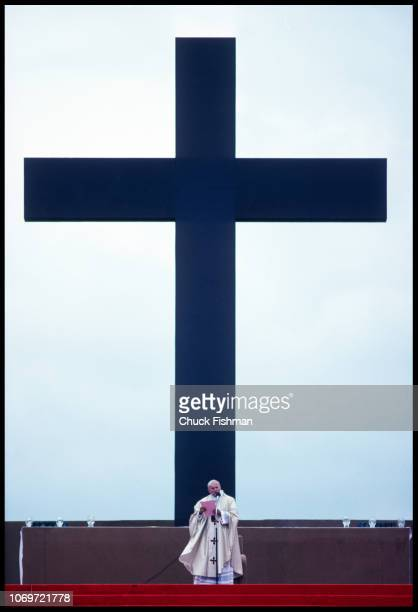View of Pope John Paul II in front of a large cross on a backdroup during a Mass in le Bourget Paris France June 1 1980