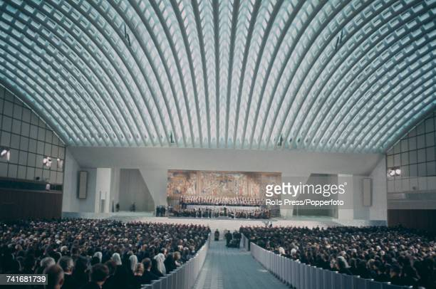 View of Pope Paul VI attending a concert marking the centenary of the birth of composer Lorenzo Perosi in the Paul VI Audience Hall in Rome, Italy on...