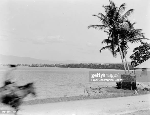 A view of Port au Prince This image is a view of the coast road to Leogane looking towards Port au Prince Haiti 1908