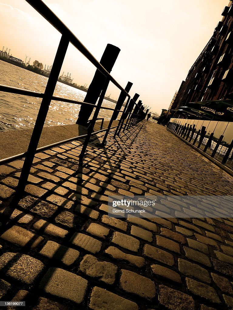 View of port Hamburg fom pier : Stock-Foto