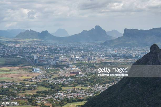 view of port louis from mt. le pouce, port louis, mauritius - port louis stock photos and pictures