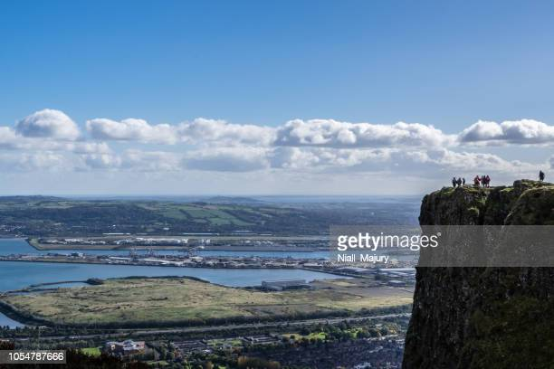 view of port of belfast from the top of cave hill - belfast stock pictures, royalty-free photos & images