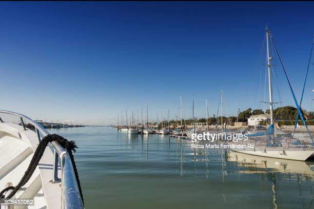 View of Port of Santa Maria in Cadiz from a boat in a sunny winter day. The Port of Santa Maria, Cadiz, Andalusia, Spain,