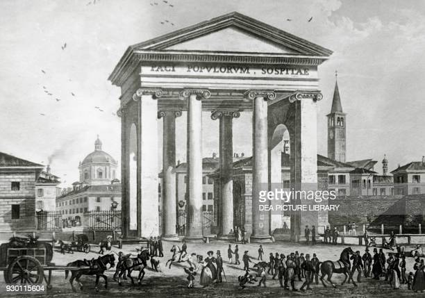 View of Porta Ticinese designed by Luigi Cagnola Milan Italy aquatint by JohannJakob Falkeisen after a drawing by Alessandro Sidoli 18361838 19th...