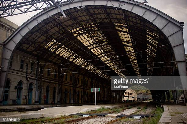 View of Portbou Train Station on 3rd september Spain Portbou is the last Spanish seaside town before the border with France Currently has a...