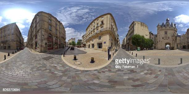 360° view of porte cailhau  of bordeaux, aquitaine, france, europe - vr 360 fotografías e imágenes de stock