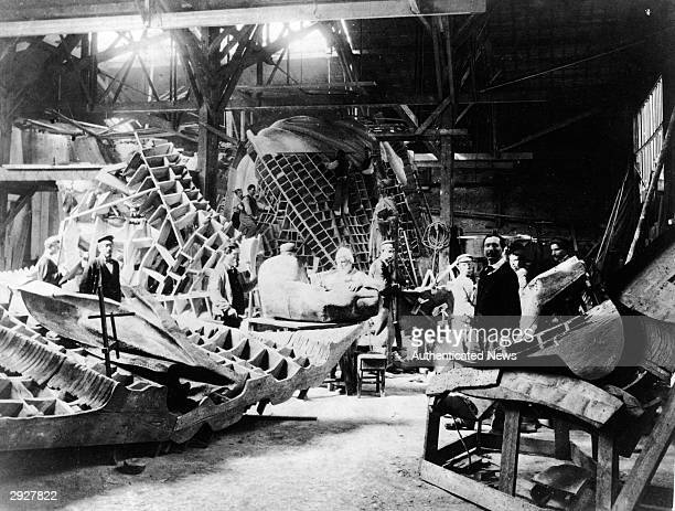 View of portions of the Statue of Liberty during its construction in the workshop of French sculptor Frederic Auguste Bartholdi Paris France circa...