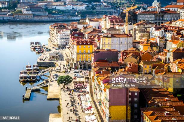 view of porto from dom luís i bridge - portugal stock pictures, royalty-free photos & images