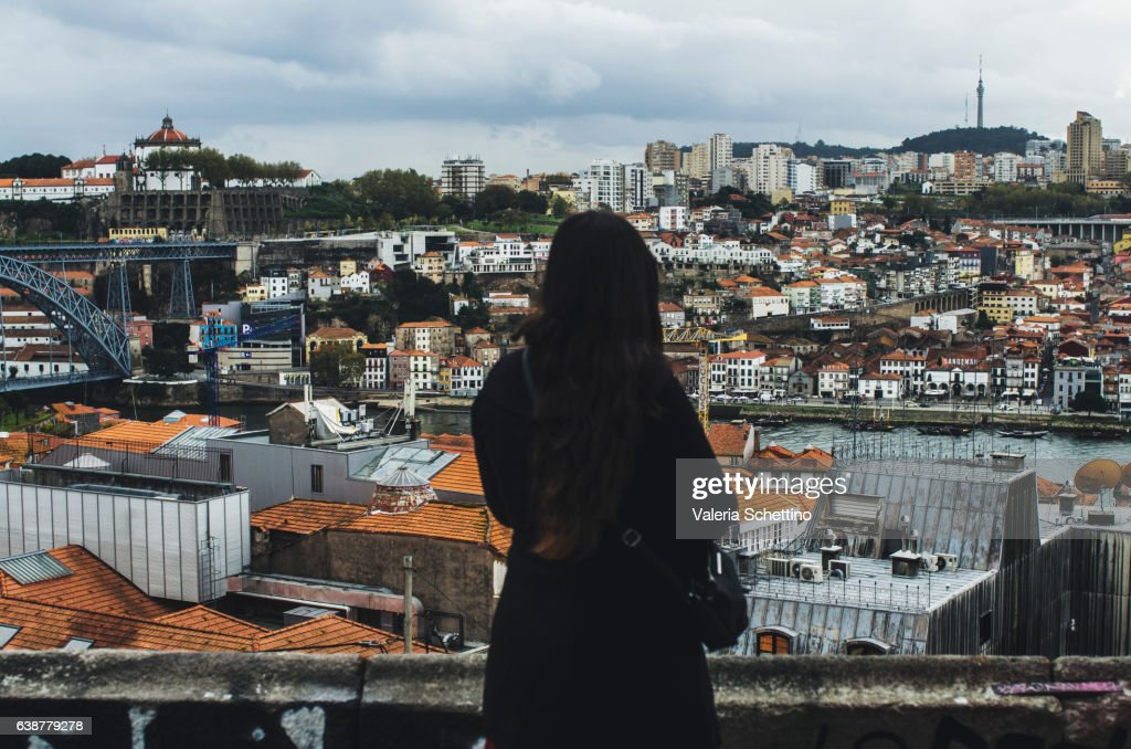 View of Porto with a woman