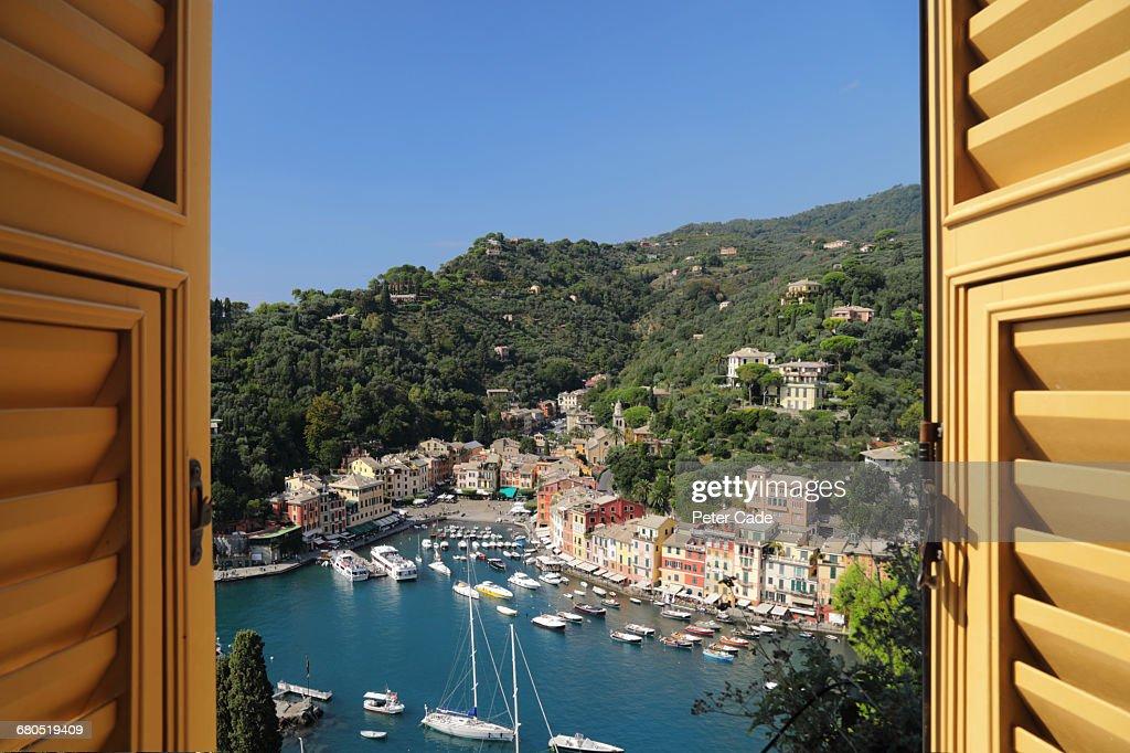 View of Portofino, Italy from hotel room : Stock Photo