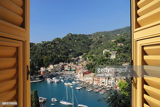 View of Portofino, Italy from hotel room