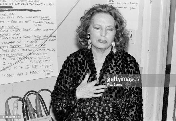 View of Portuguese Fado singer Amalia Rodrigues backstage during an appearance at Town Hall, New York, New York, November 2, 1990.