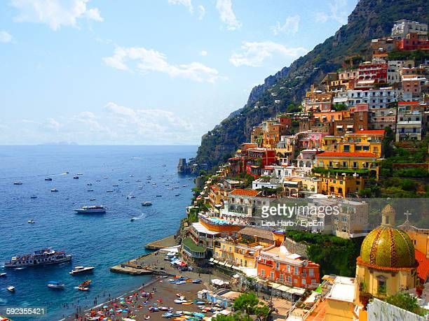 View Of Positano Against Sky