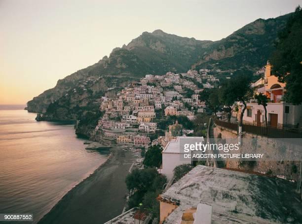 View of Positano at sunset Amalfi coast Campania Italy