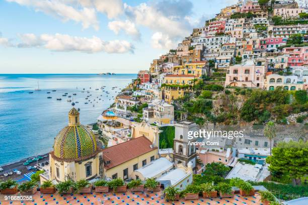 view of positano cityscape and coastline - famous place stock pictures, royalty-free photos & images