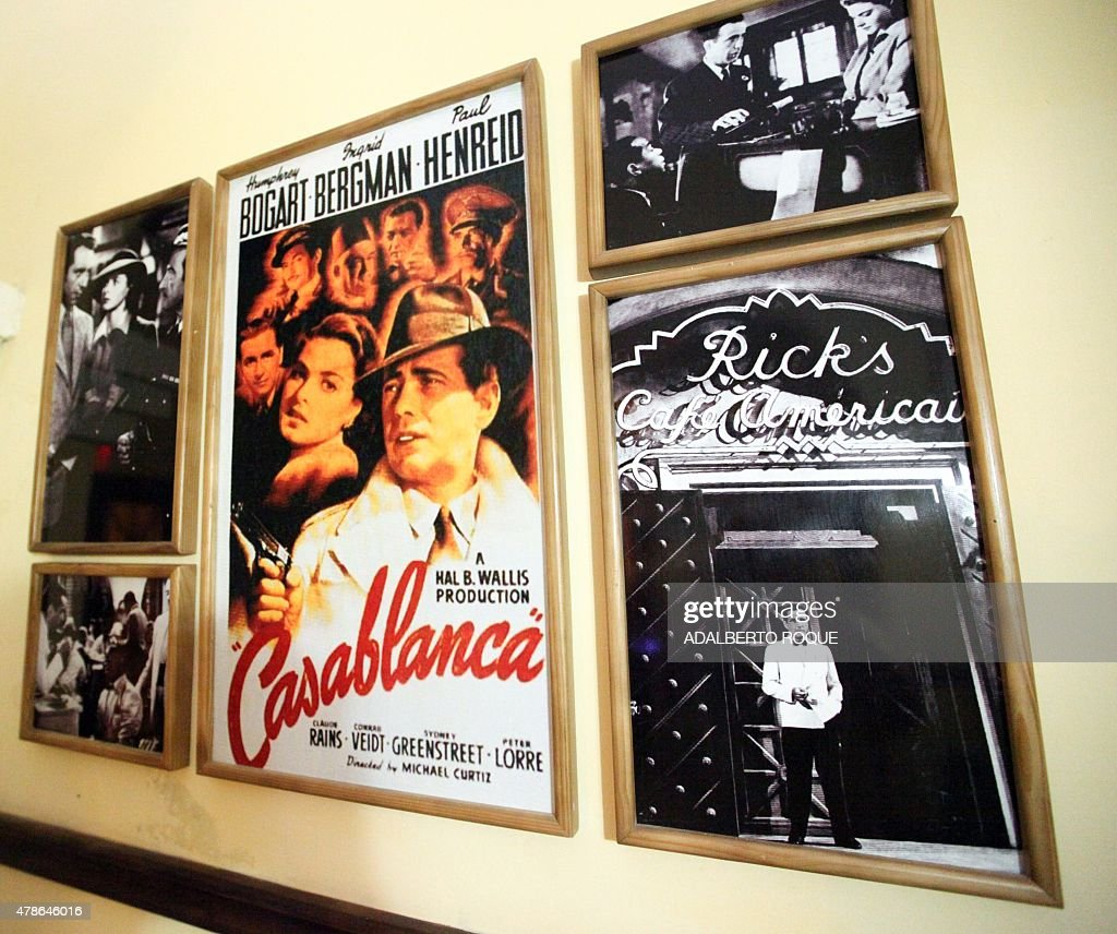 View of posters and pictures US legend movie 'Casablanca' at the Casablanca bar in Camaguey city, 600 km east of Havana, on June 19, 2015.