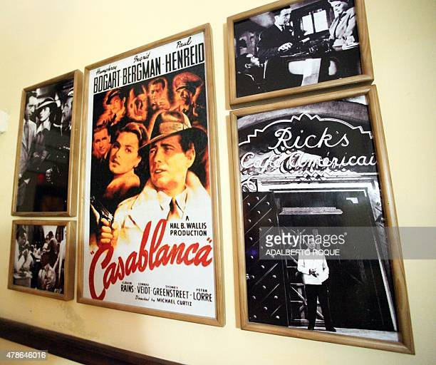 View of posters and pictures US legend movie Casablanca at the Casablanca bar in Camaguey city 600 km east of Havana on June 19 2015 AFP...